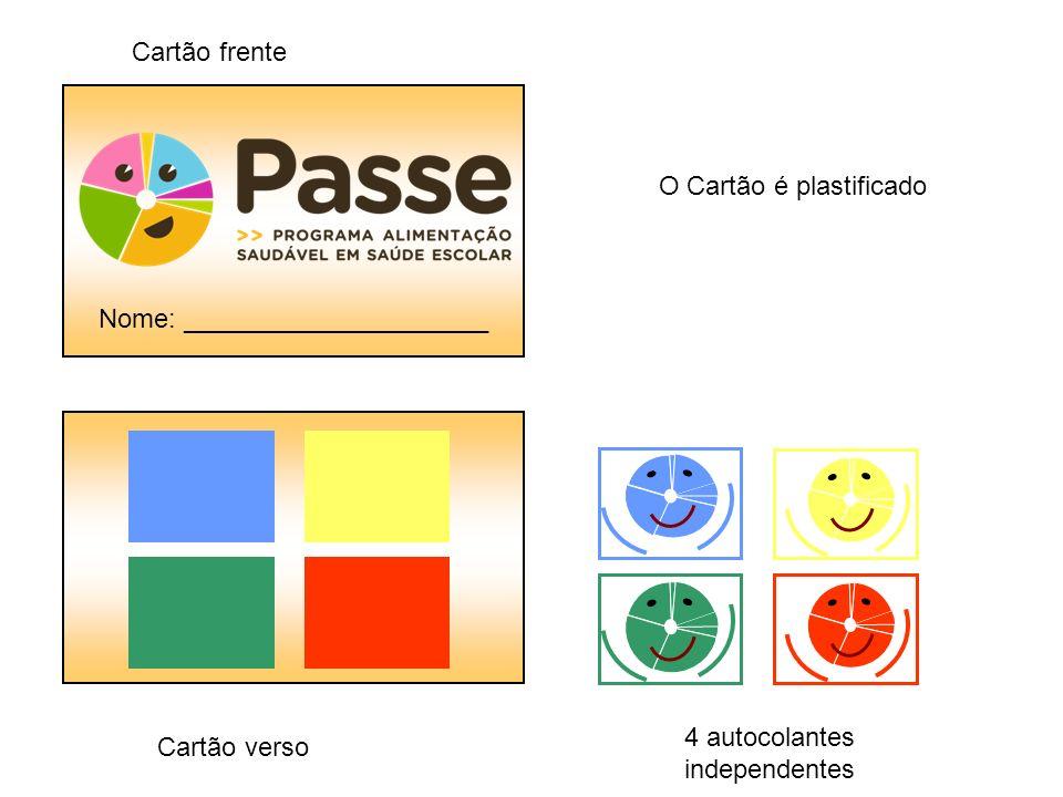 Cartão frente Nome: _____________________. O Cartão é plastificado. 4 autocolantes independentes.