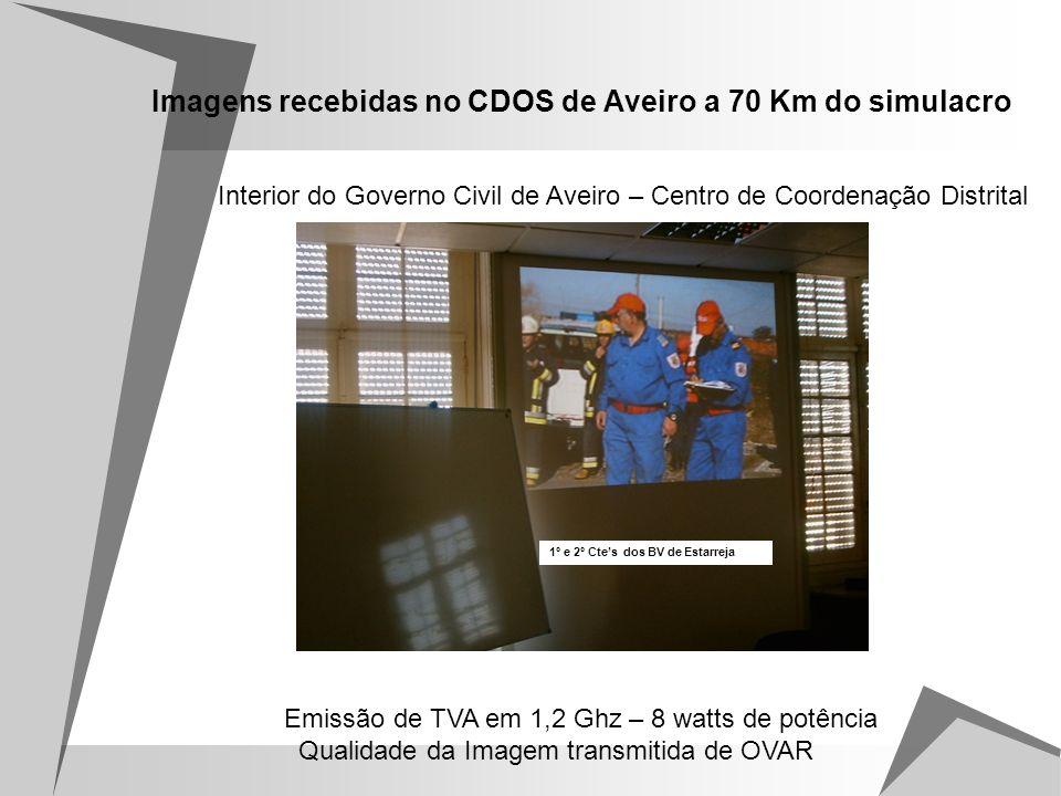 Imagens recebidas no CDOS de Aveiro a 70 Km do simulacro