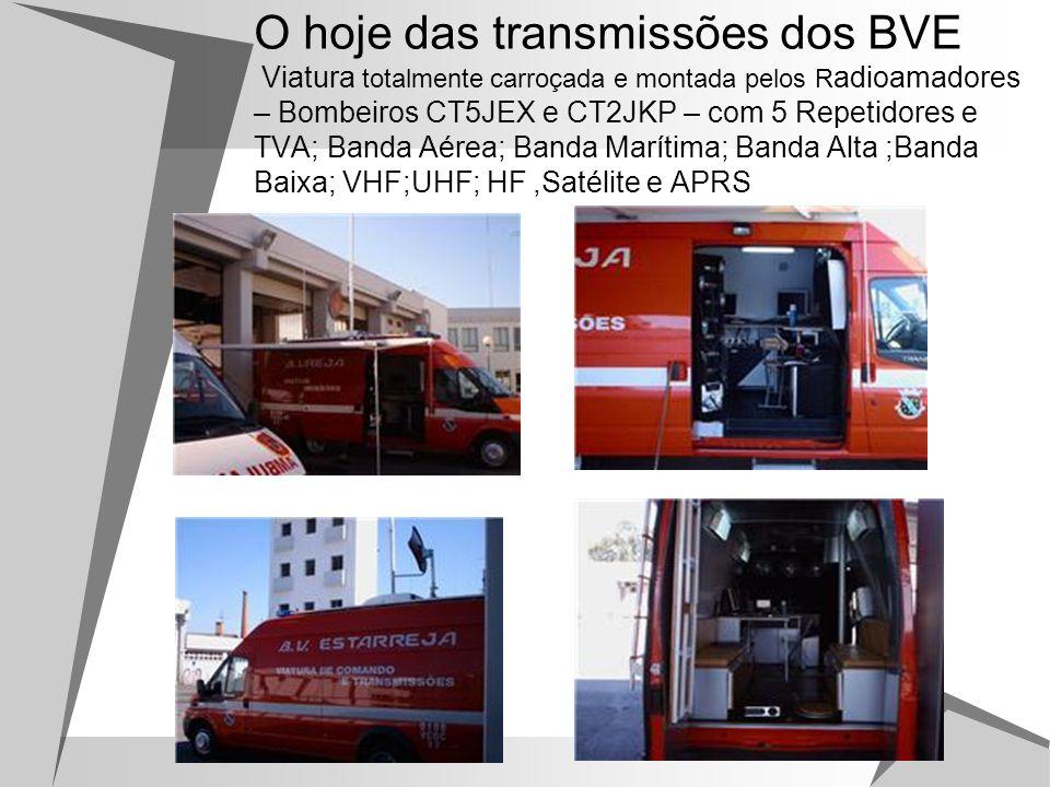 O hoje das transmissões dos BVE Viatura totalmente carroçada e montada pelos Radioamadores – Bombeiros CT5JEX e CT2JKP – com 5 Repetidores e TVA; Banda Aérea; Banda Marítima; Banda Alta ;Banda Baixa; VHF;UHF; HF ,Satélite e APRS