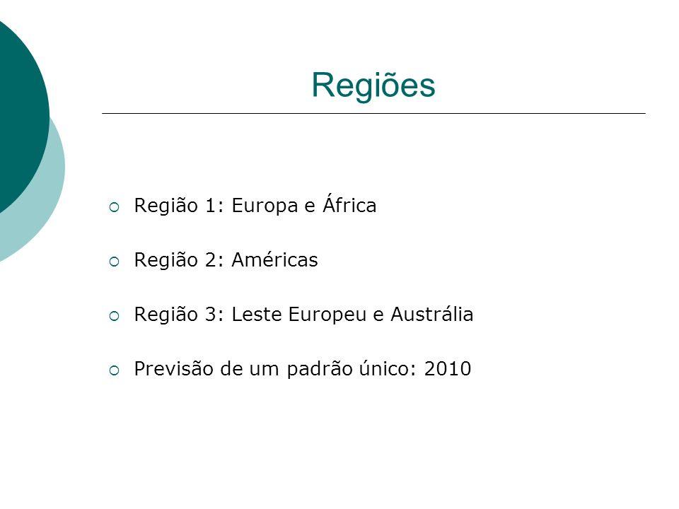 Regiões Região 1: Europa e África Região 2: Américas