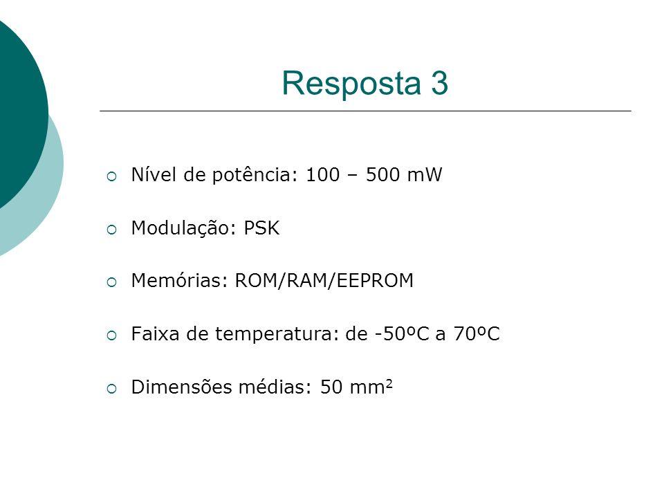 Resposta 3 Nível de potência: 100 – 500 mW Modulação: PSK