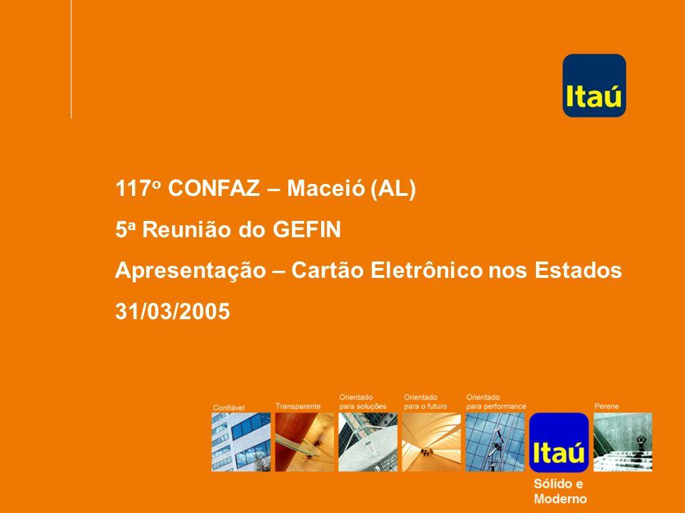 117o CONFAZ – Maceió (AL) 5a Reunião do GEFIN. Apresentação – Cartão Eletrônico nos Estados.