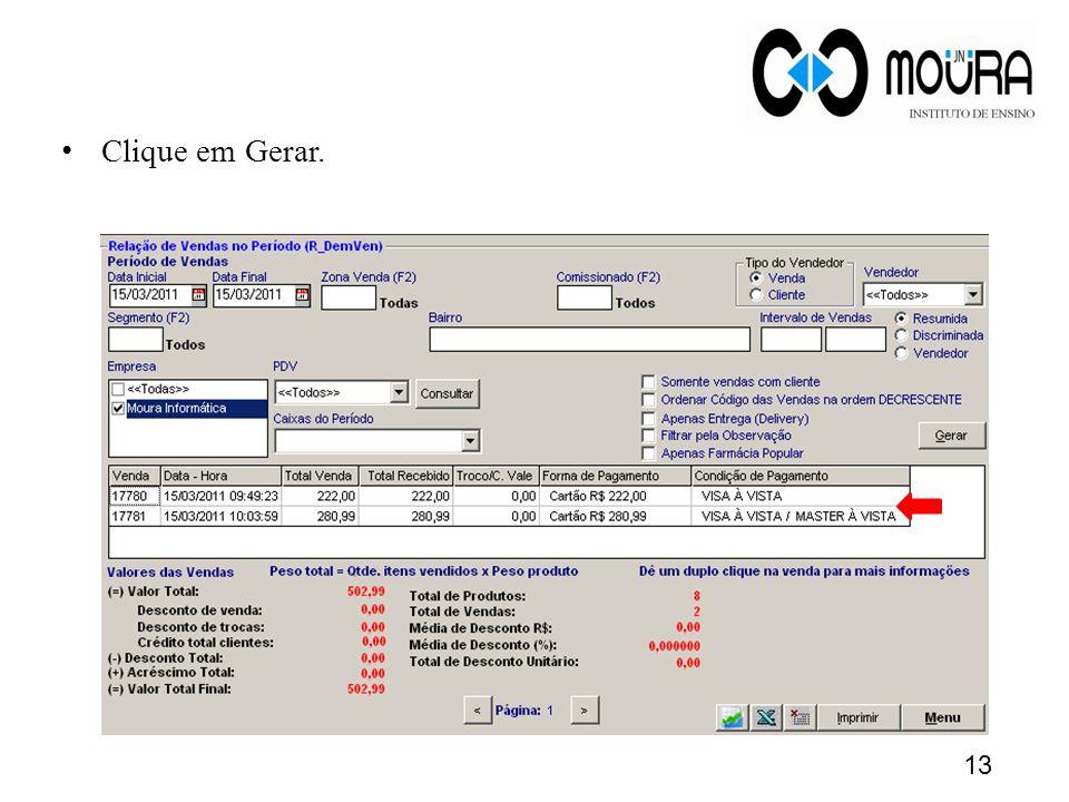 Clique em Gerar.