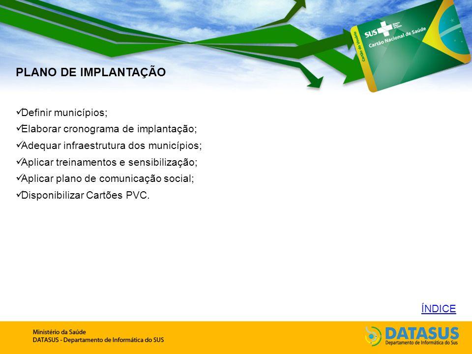 PLANO DE IMPLANTAÇÃO Definir municípios;