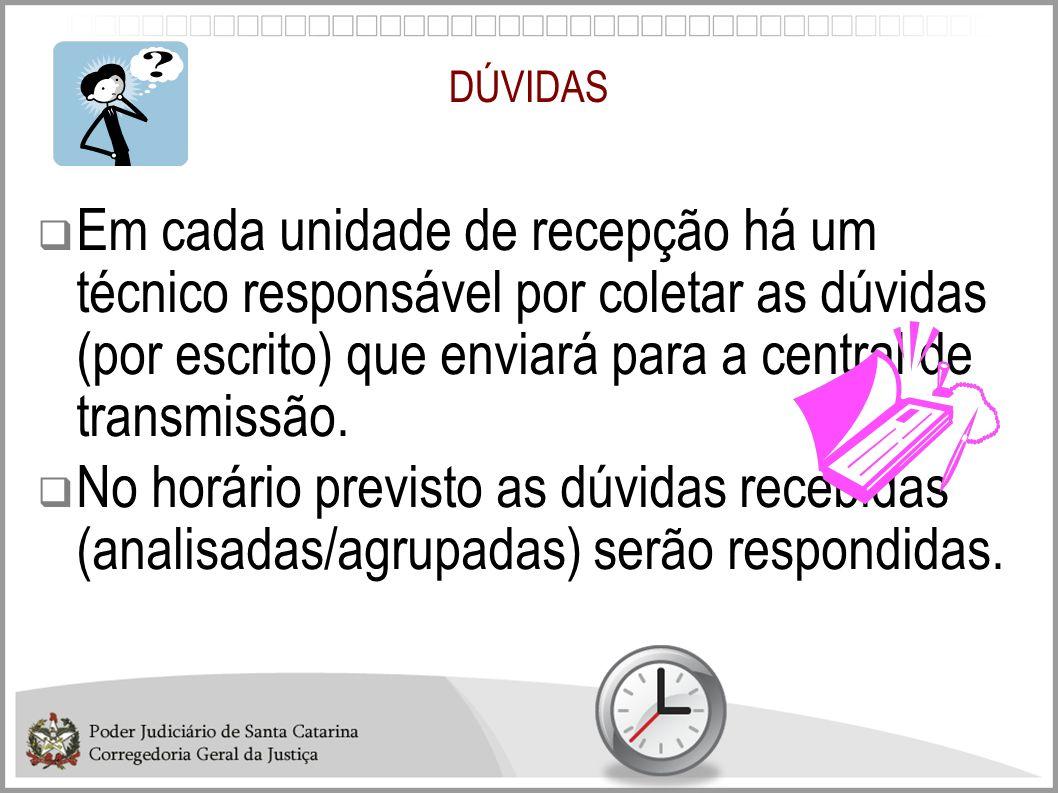 DÚVIDAS Em cada unidade de recepção há um técnico responsável por coletar as dúvidas (por escrito) que enviará para a central de transmissão.