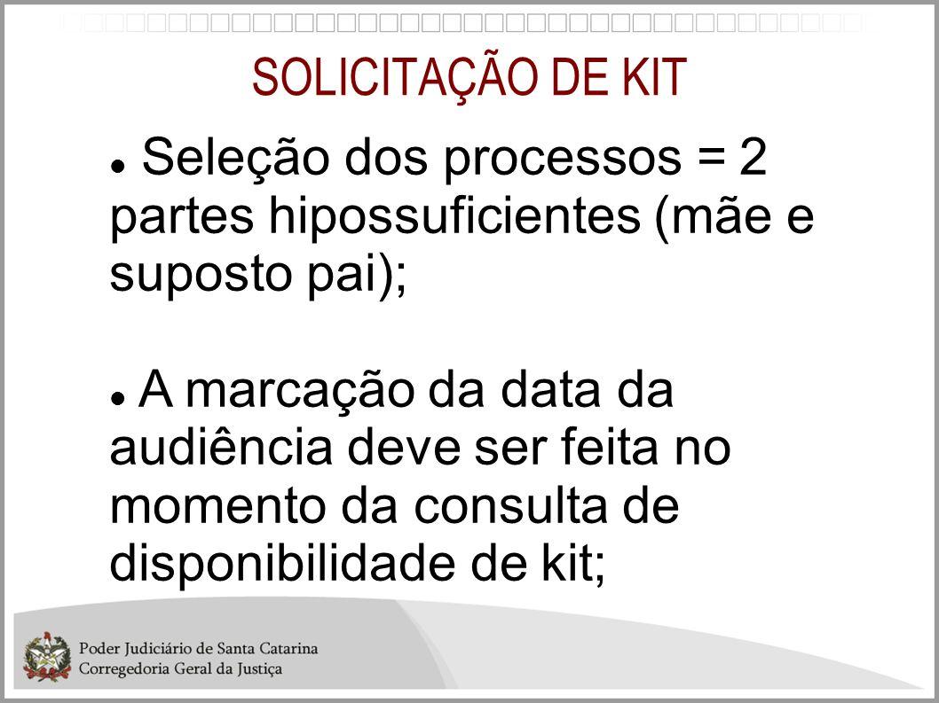 SOLICITAÇÃO DE KIT Seleção dos processos = 2 partes hipossuficientes (mãe e suposto pai);
