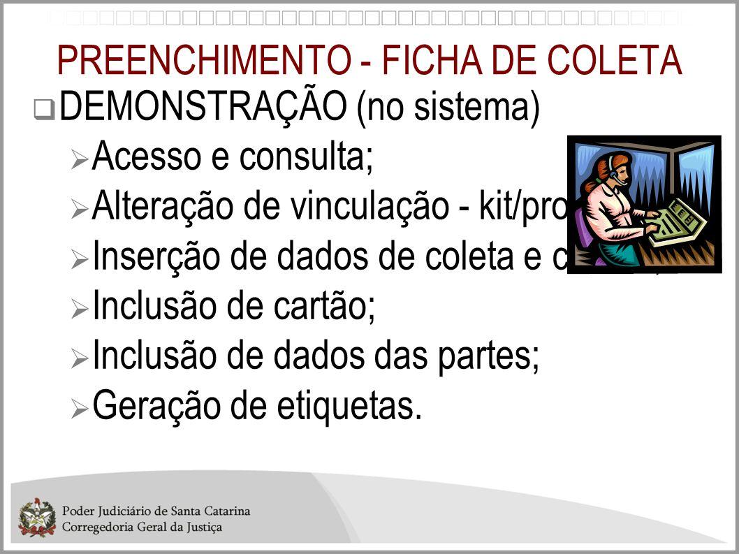 PREENCHIMENTO - FICHA DE COLETA
