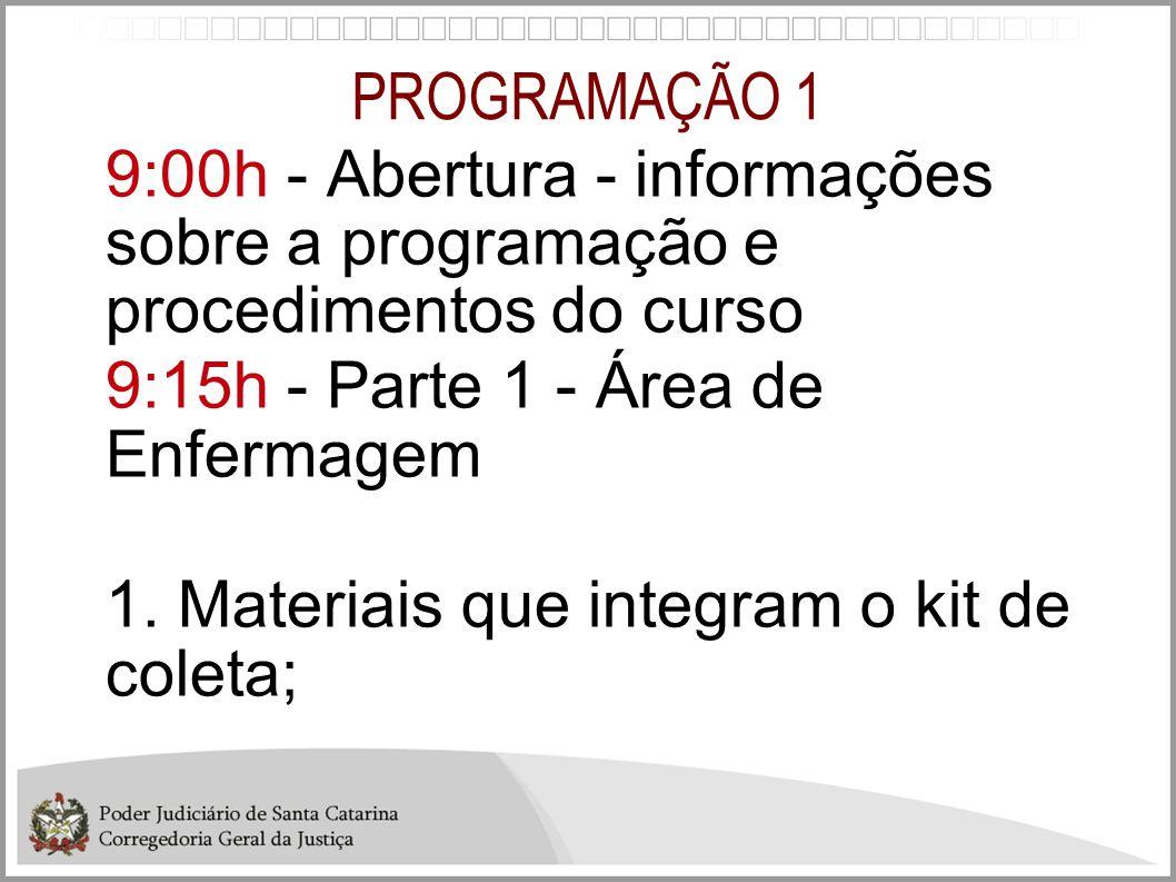 PROGRAMAÇÃO 1 9:00h - Abertura - informações sobre a programação e procedimentos do curso. 9:15h - Parte 1 - Área de Enfermagem.