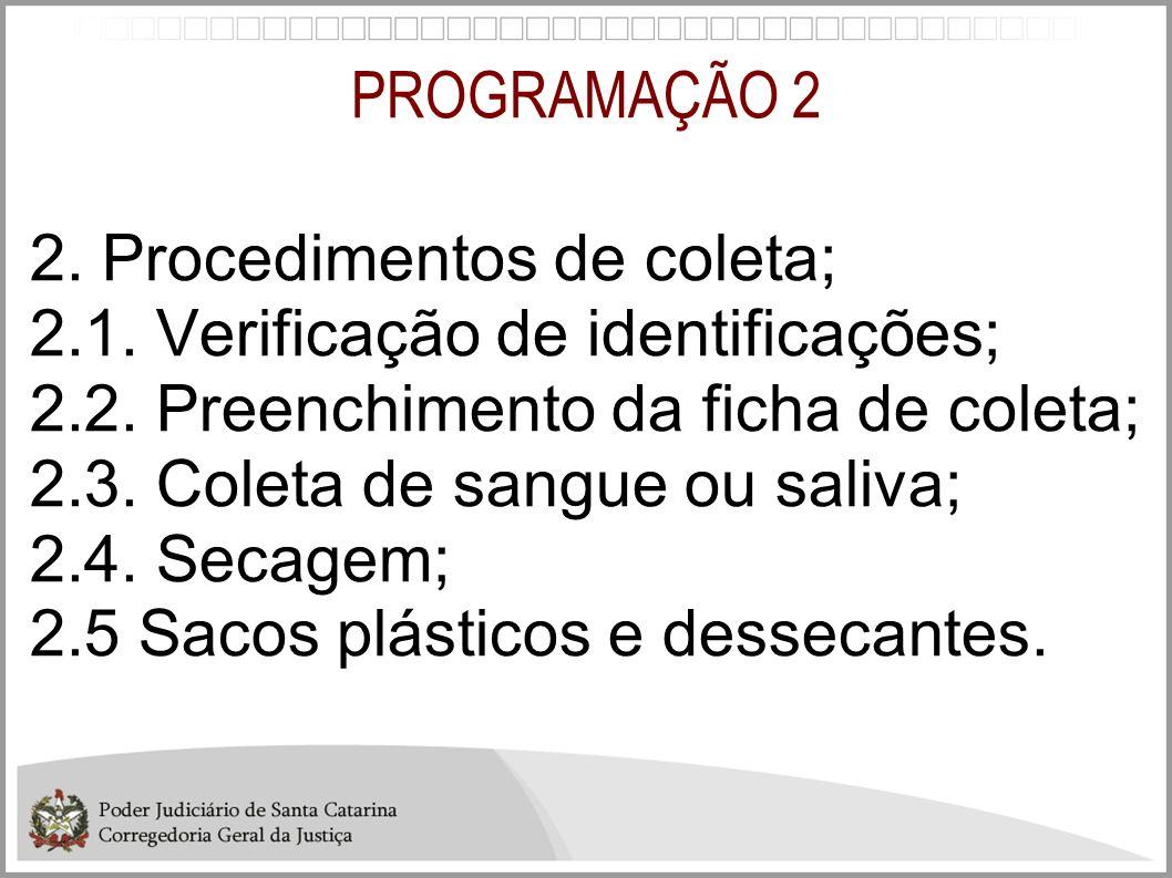 PROGRAMAÇÃO 2 2. Procedimentos de coleta; 2.1. Verificação de identificações; 2.2. Preenchimento da ficha de coleta;