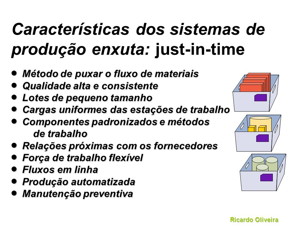 Características dos sistemas de produção enxuta: just-in-time