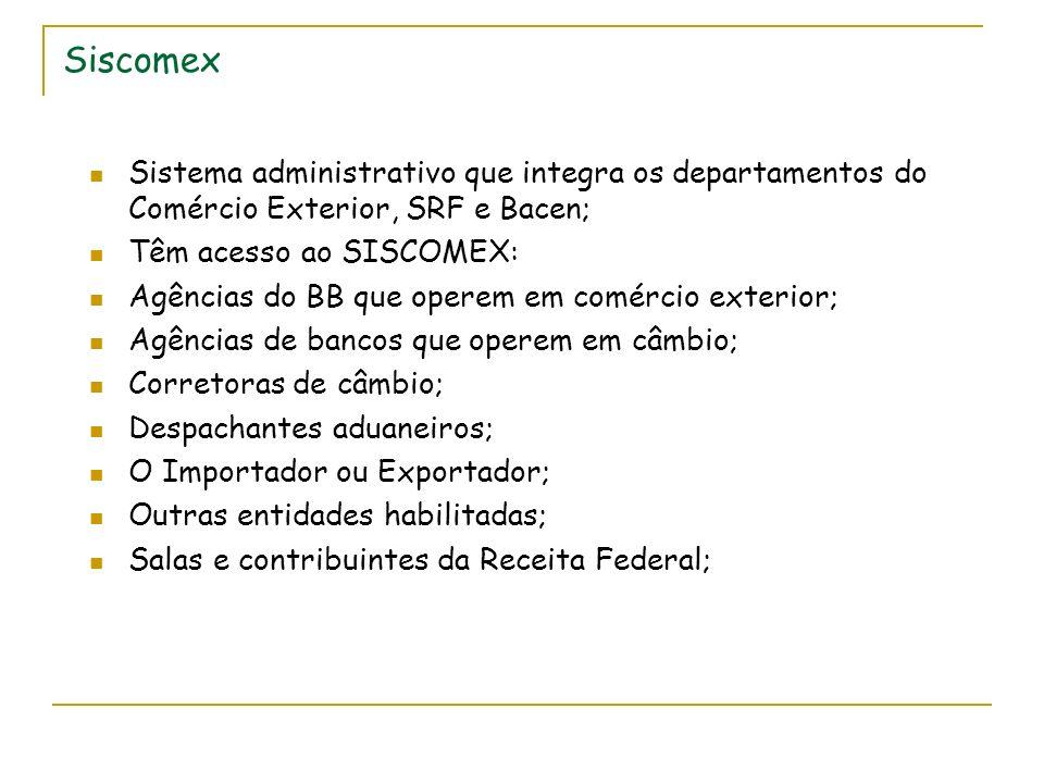 Siscomex Sistema administrativo que integra os departamentos do Comércio Exterior, SRF e Bacen; Têm acesso ao SISCOMEX: