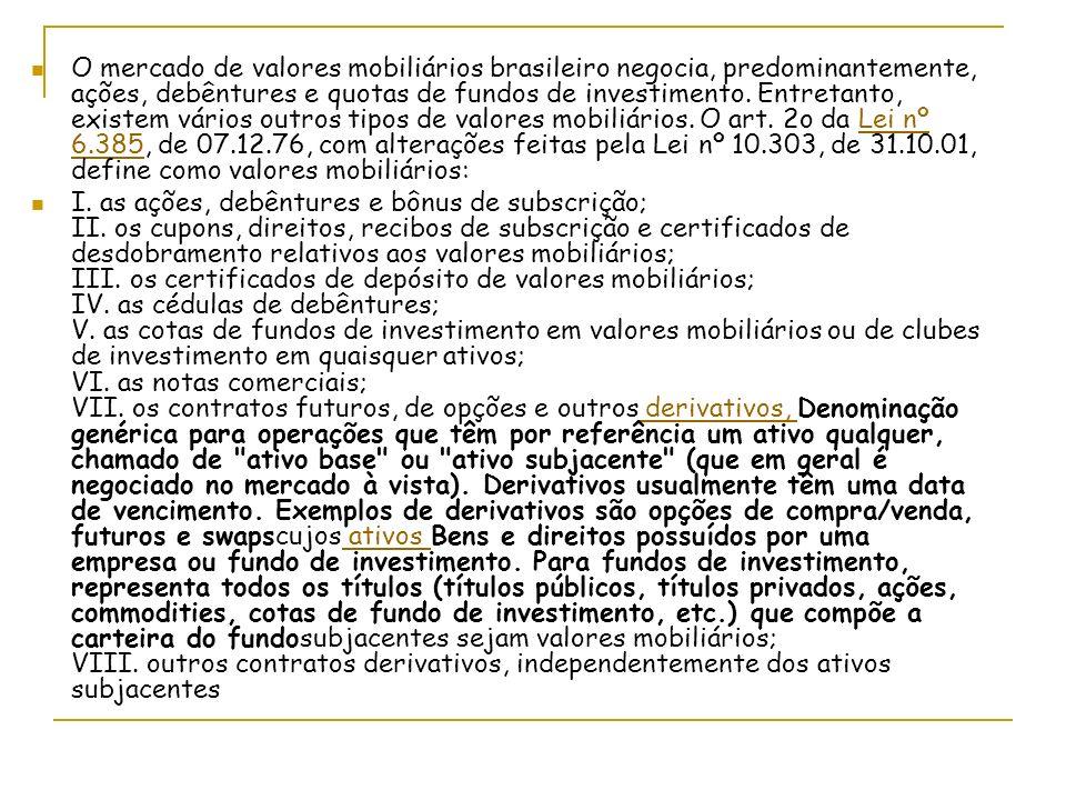 O mercado de valores mobiliários brasileiro negocia, predominantemente, ações, debêntures e quotas de fundos de investimento. Entretanto, existem vários outros tipos de valores mobiliários. O art. 2o da Lei nº 6.385, de 07.12.76, com alterações feitas pela Lei nº 10.303, de 31.10.01, define como valores mobiliários: