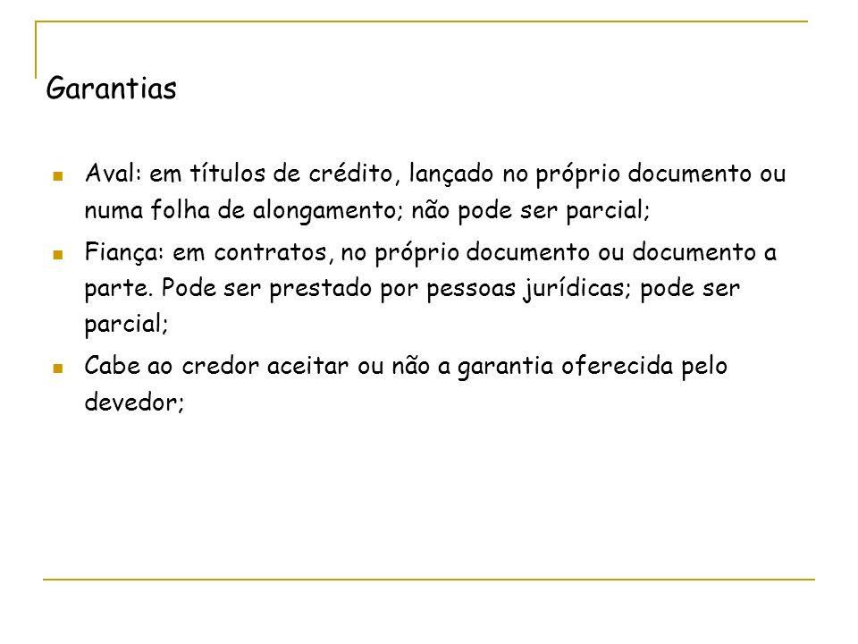 Garantias Aval: em títulos de crédito, lançado no próprio documento ou numa folha de alongamento; não pode ser parcial;