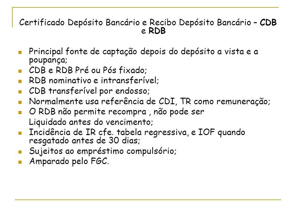 Certificado Depósito Bancário e Recibo Depósito Bancário – CDB e RDB