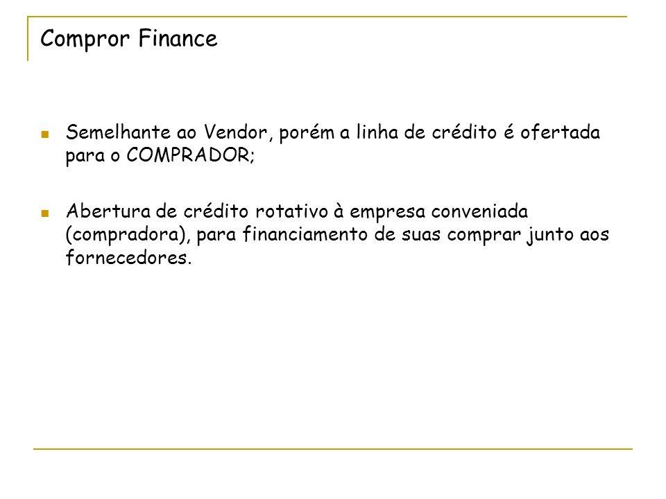 Compror Finance Semelhante ao Vendor, porém a linha de crédito é ofertada para o COMPRADOR;