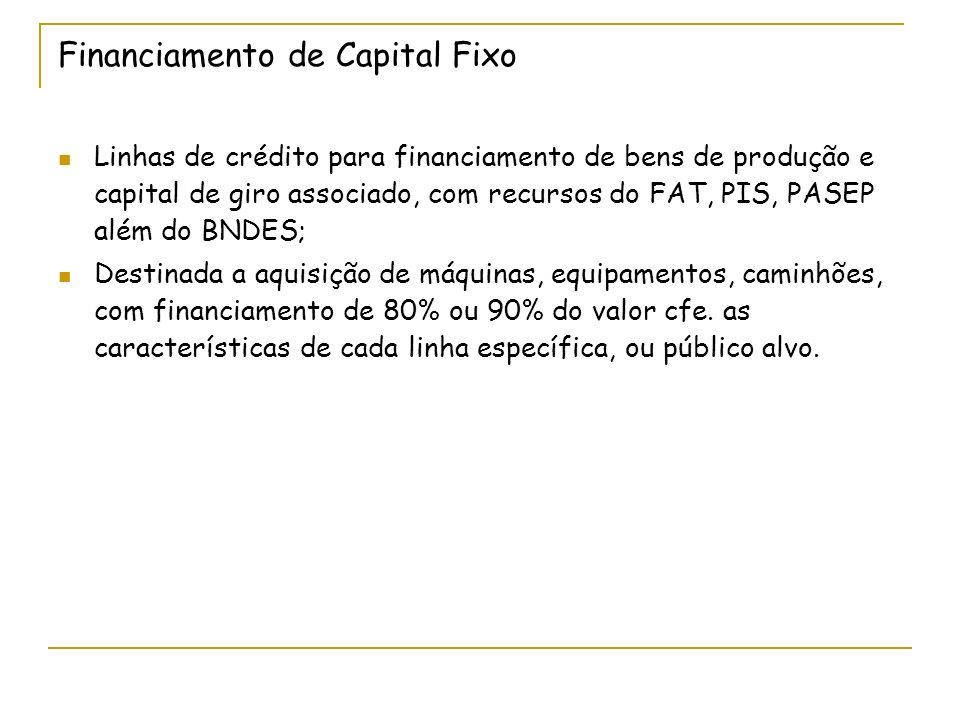 Financiamento de Capital Fixo