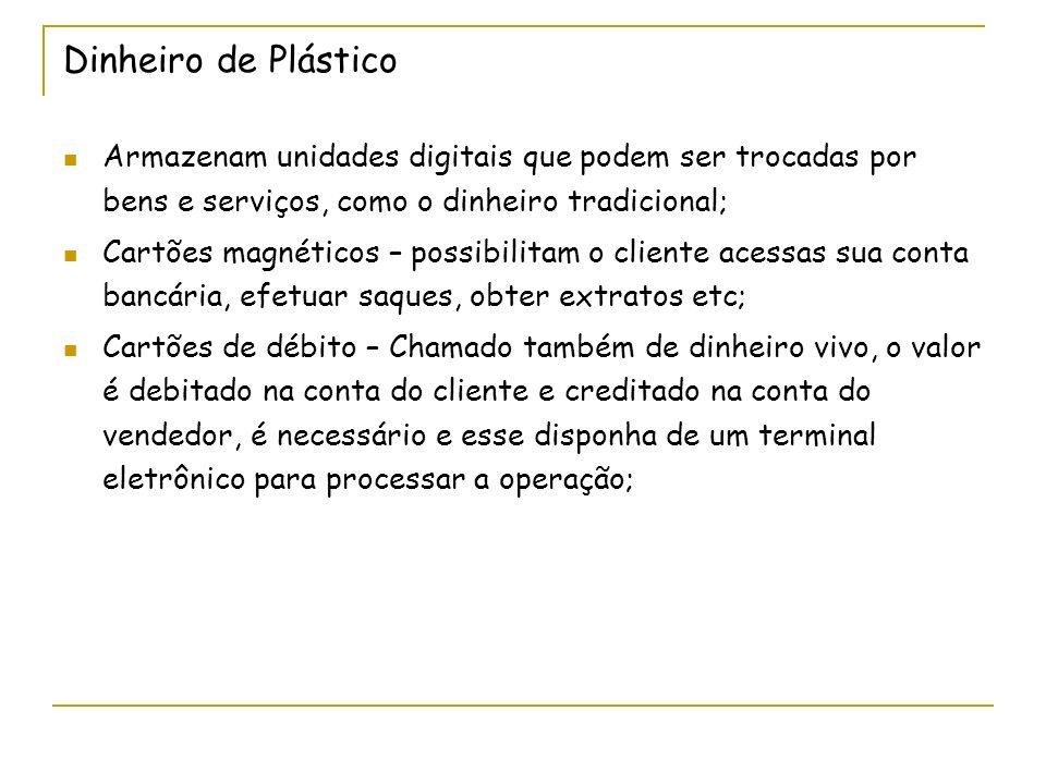 Dinheiro de Plástico Armazenam unidades digitais que podem ser trocadas por bens e serviços, como o dinheiro tradicional;