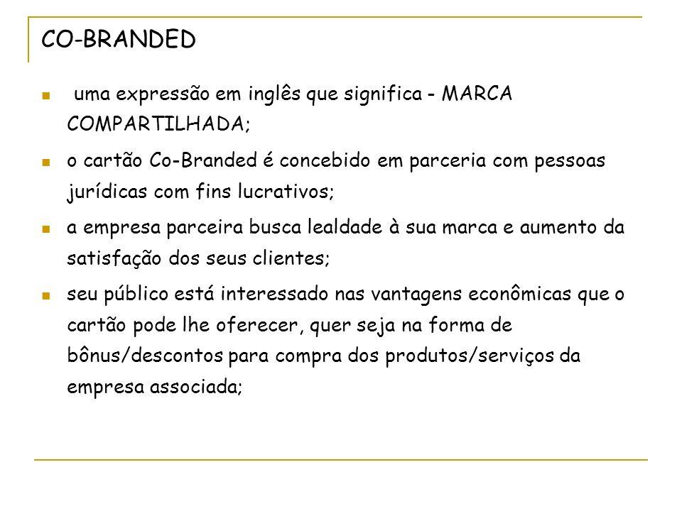 CO-BRANDED uma expressão em inglês que significa - MARCA COMPARTILHADA;