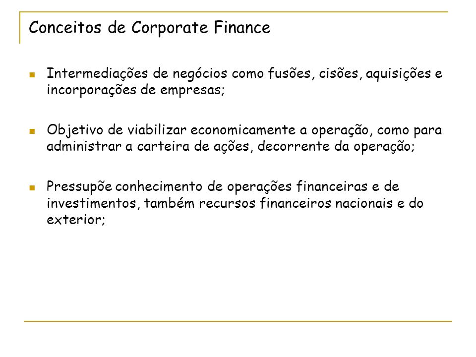 Conceitos de Corporate Finance