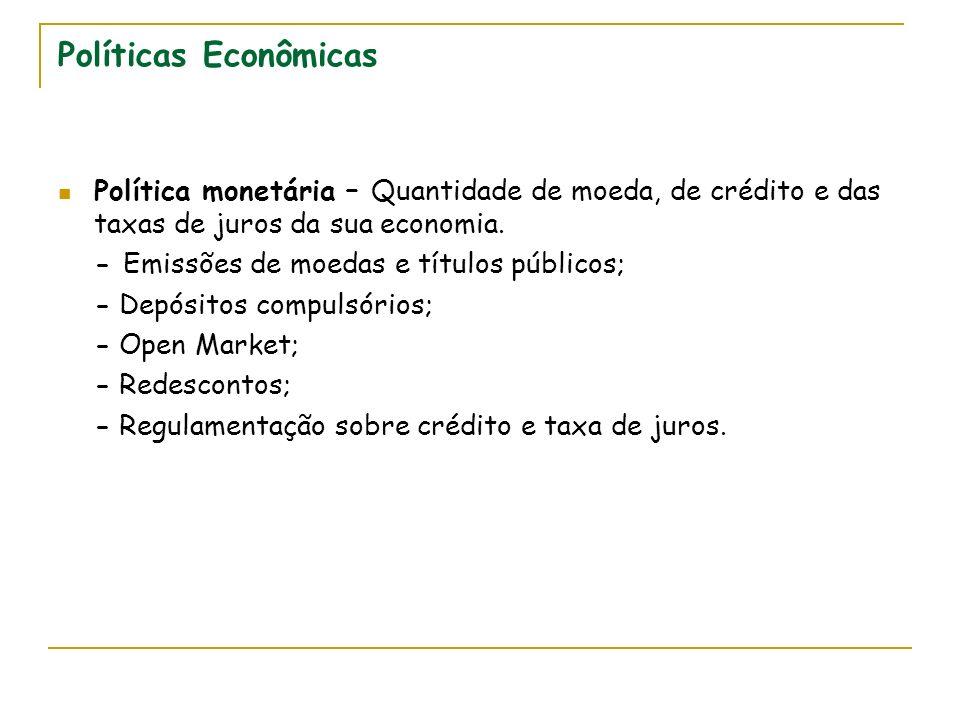 Políticas Econômicas Política monetária – Quantidade de moeda, de crédito e das taxas de juros da sua economia.
