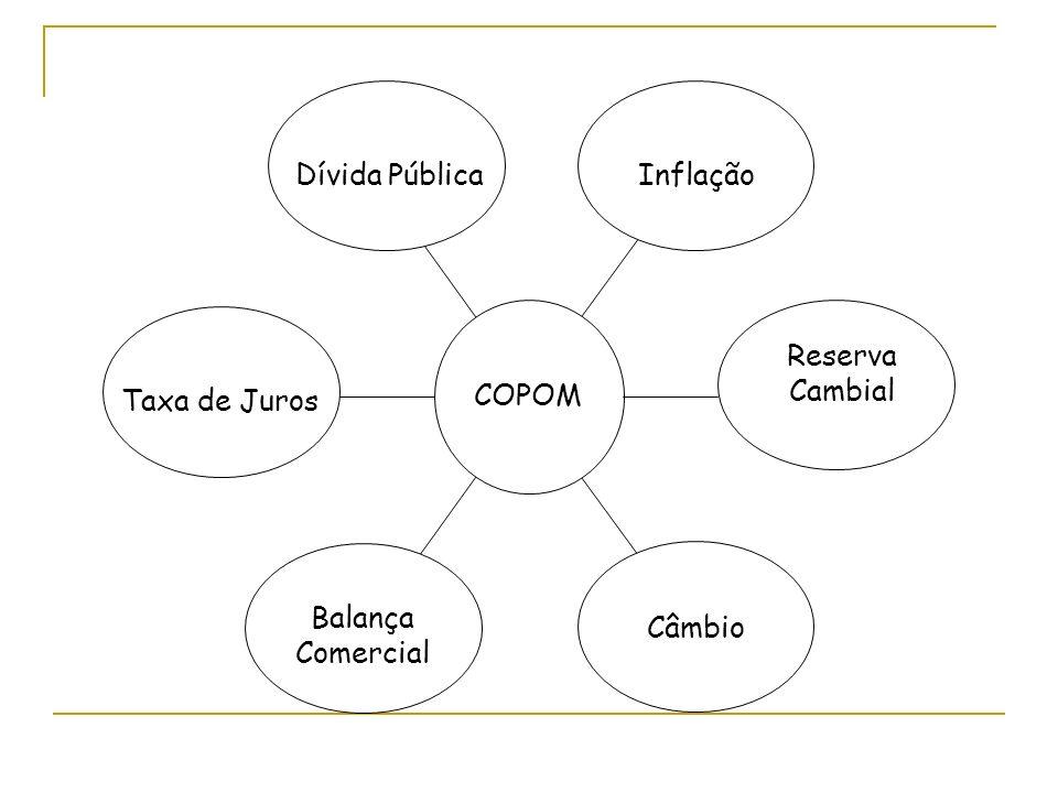 Reserva Cambial Inflação Balança Comercial Taxa de Juros Dívida Pública Câmbio COPOM