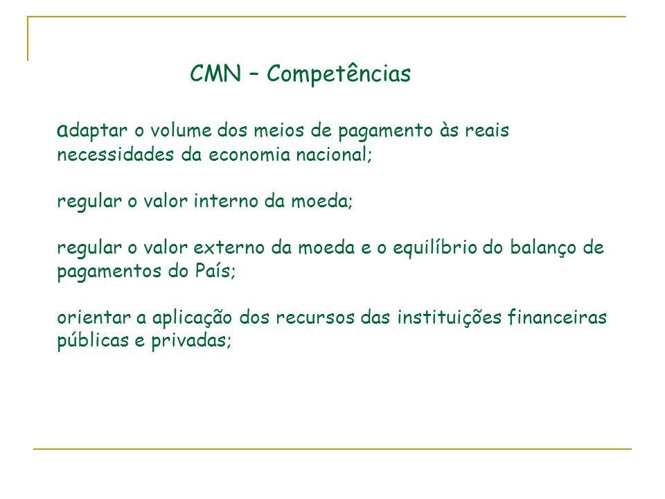 CMN – Competências adaptar o volume dos meios de pagamento às reais necessidades da economia nacional; regular o valor interno da moeda; regular o valor externo da moeda e o equilíbrio do balanço de pagamentos do País; orientar a aplicação dos recursos das instituições financeiras públicas e privadas;
