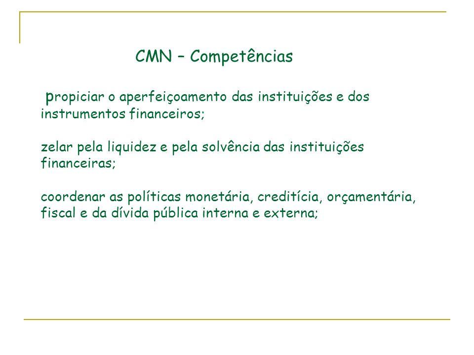 CMN – Competências propiciar o aperfeiçoamento das instituições e dos instrumentos financeiros; zelar pela liquidez e pela solvência das instituições financeiras; coordenar as políticas monetária, creditícia, orçamentária, fiscal e da dívida pública interna e externa;