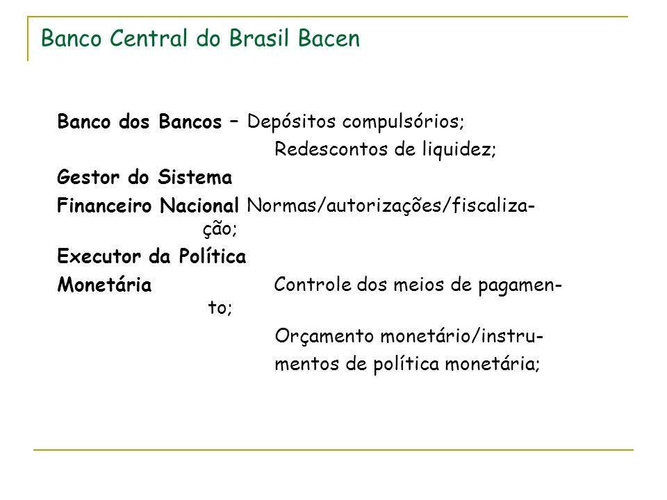 Banco Central do Brasil Bacen