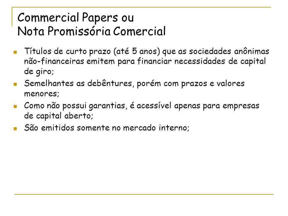 Commercial Papers ou Nota Promissória Comercial