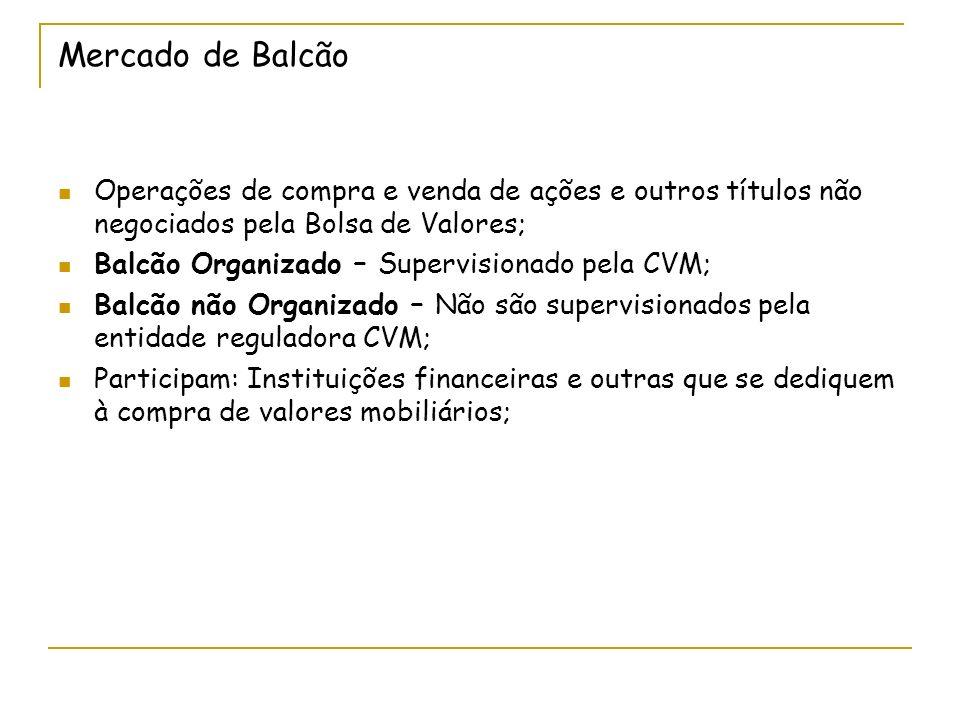 Mercado de Balcão Operações de compra e venda de ações e outros títulos não negociados pela Bolsa de Valores;