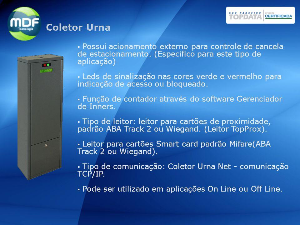 Coletor Urna Possui acionamento externo para controle de cancela de estacionamento. (Especifico para este tipo de aplicação)