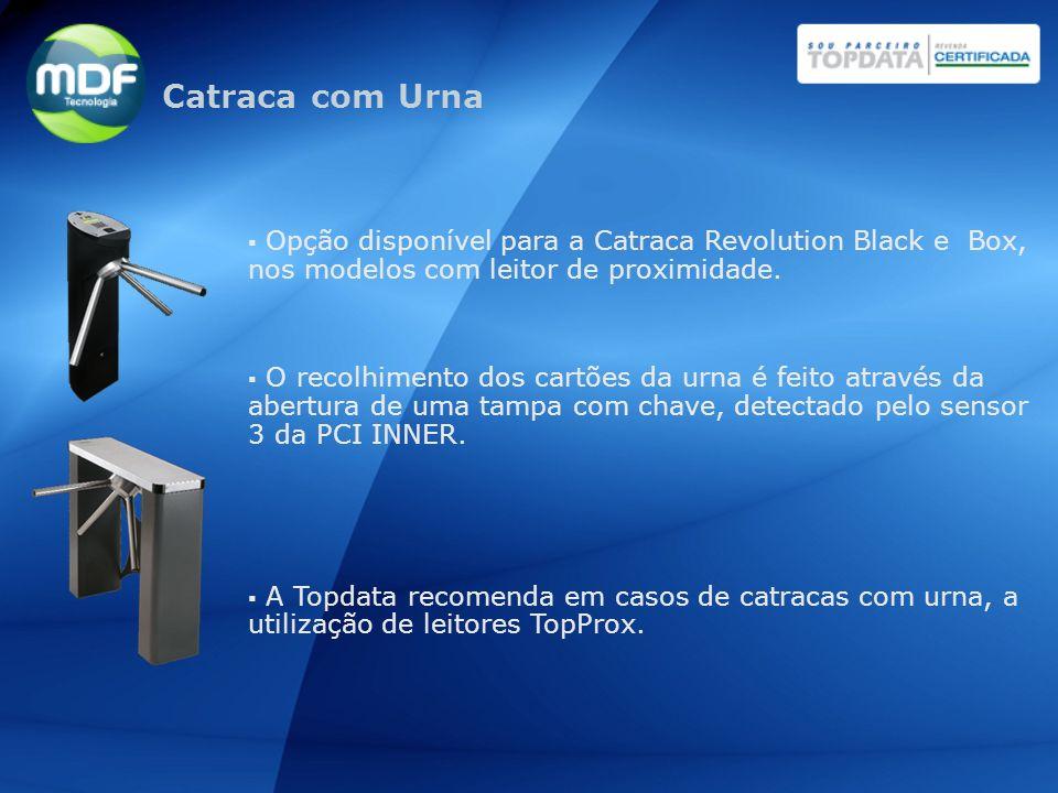 Catraca com Urna Opção disponível para a Catraca Revolution Black e Box, nos modelos com leitor de proximidade.