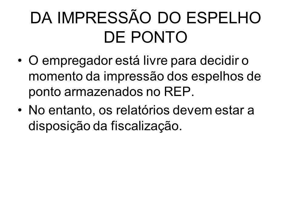 DA IMPRESSÃO DO ESPELHO DE PONTO