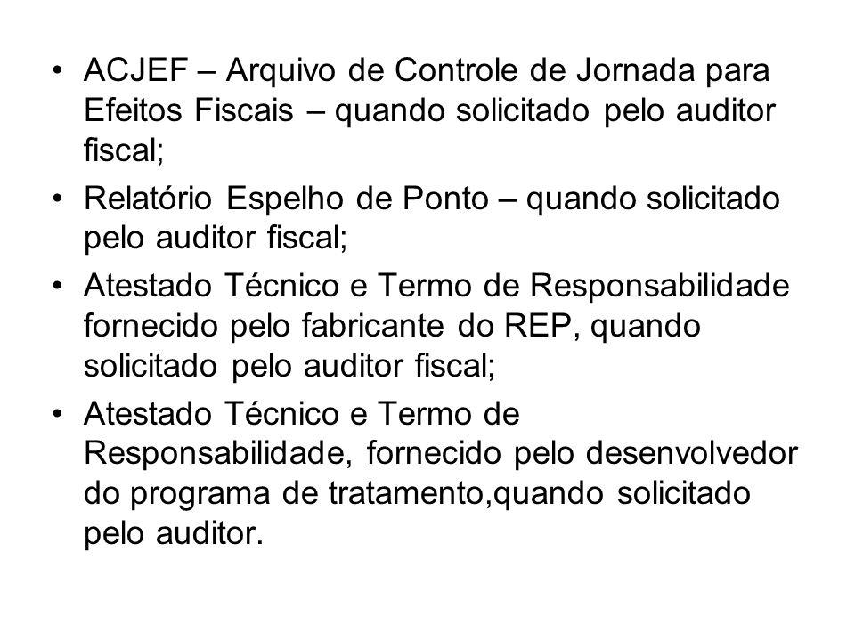 ACJEF – Arquivo de Controle de Jornada para Efeitos Fiscais – quando solicitado pelo auditor fiscal;