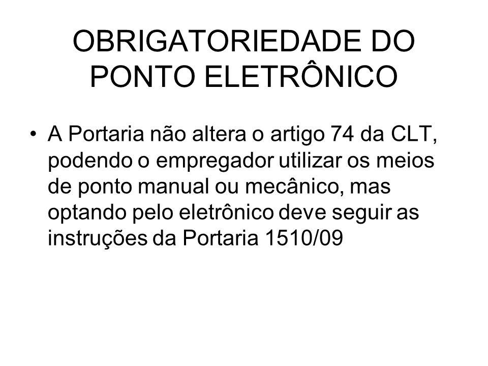 OBRIGATORIEDADE DO PONTO ELETRÔNICO