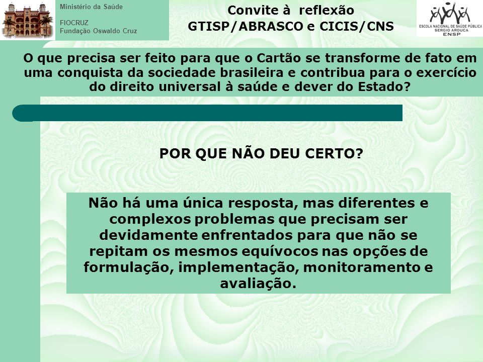 GTISP/ABRASCO e CICIS/CNS