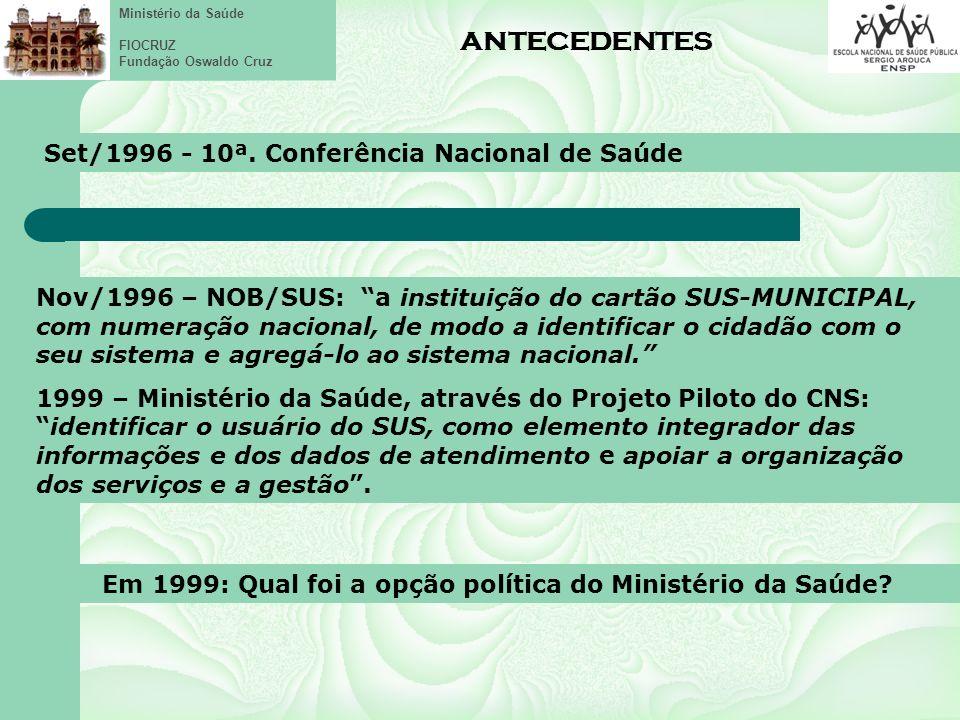 Em 1999: Qual foi a opção política do Ministério da Saúde
