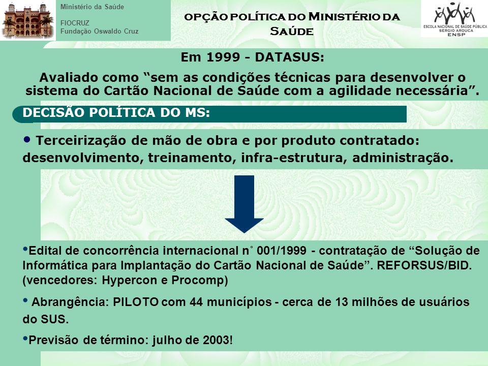 opção política do Ministério da Saúde