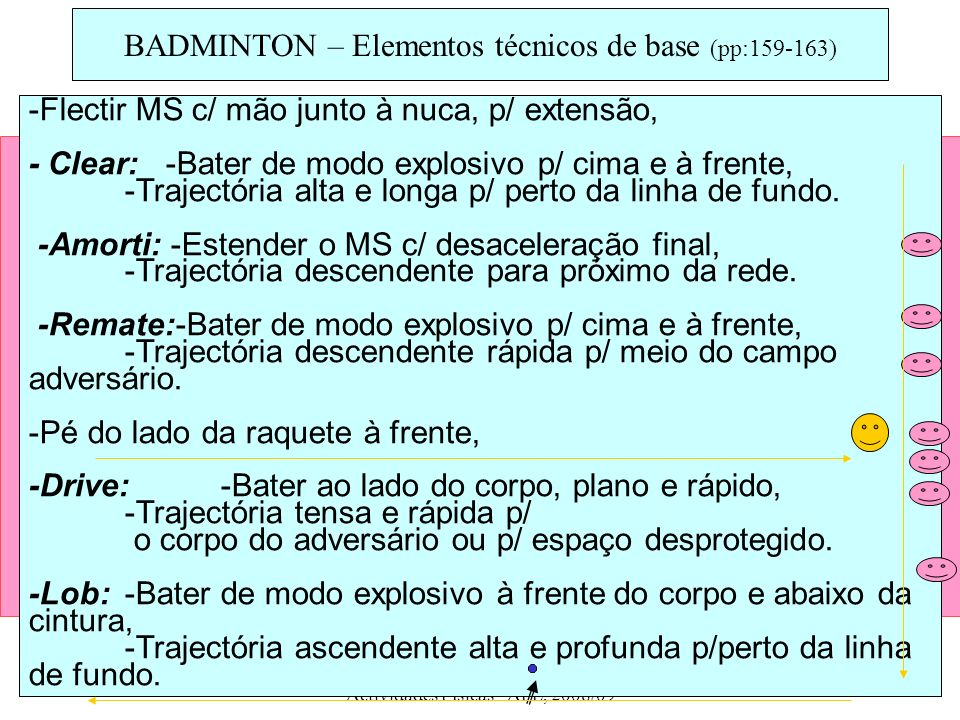 BADMINTON – Elementos técnicos de base (pp:159-163)