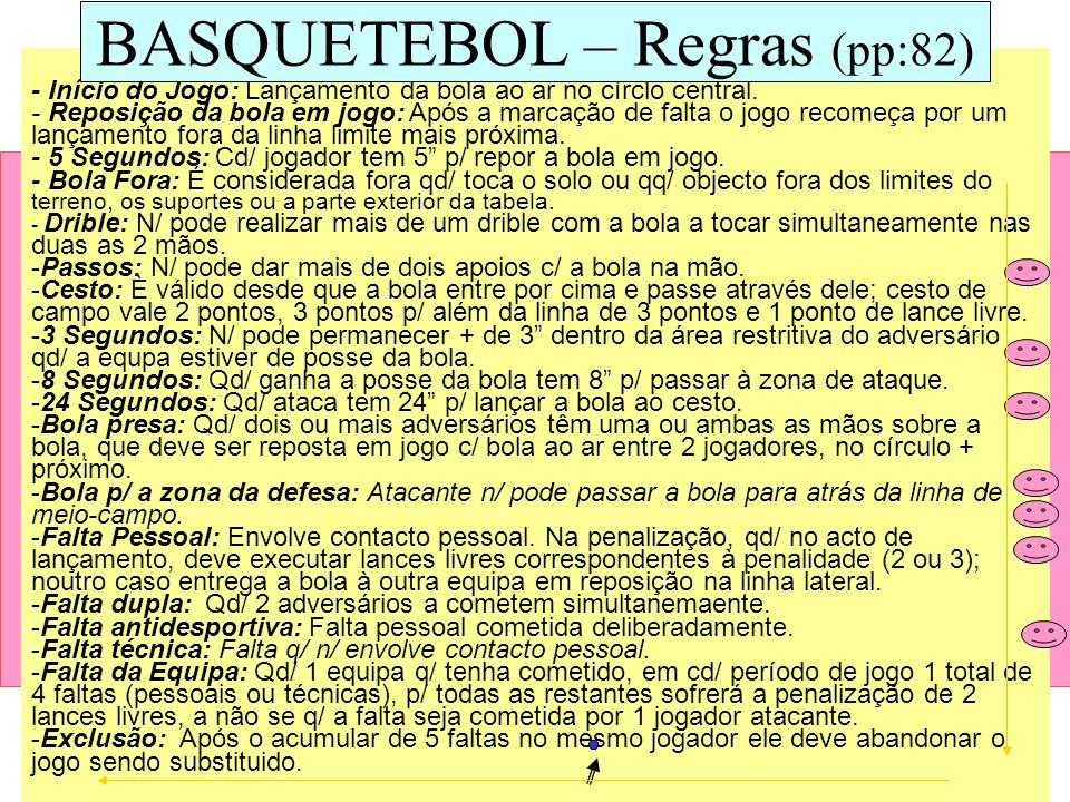 BASQUETEBOL – Regras (pp:82)
