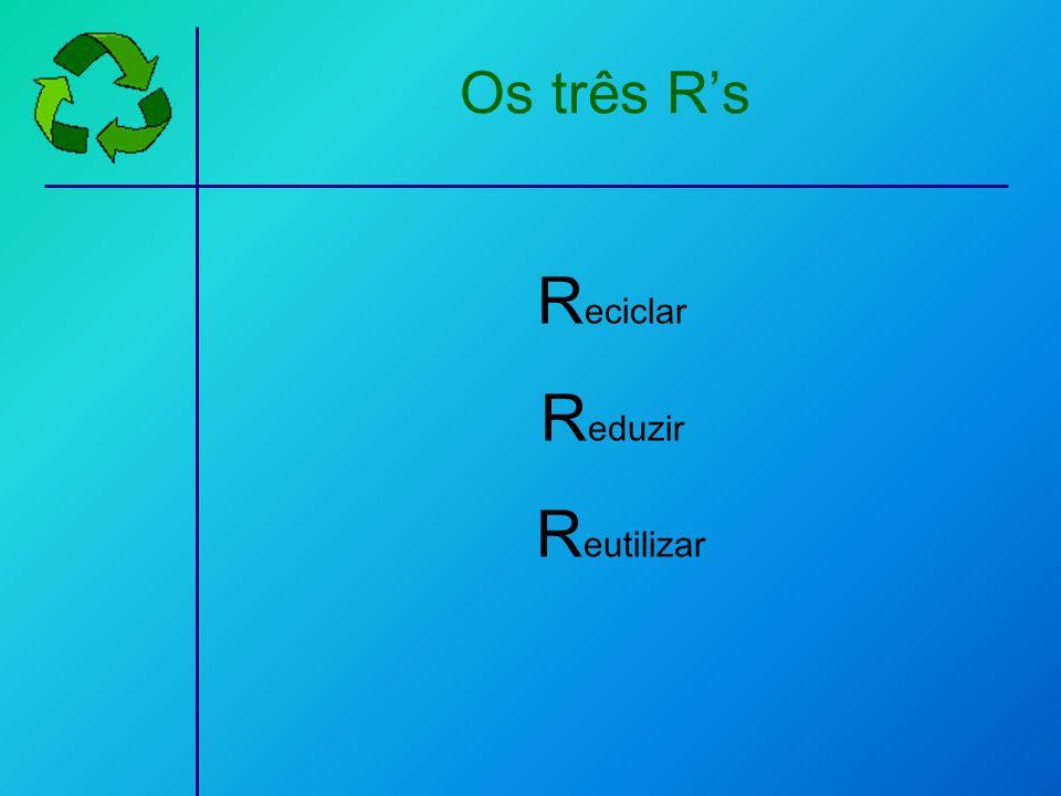 Os três R's Reciclar Reduzir Reutilizar
