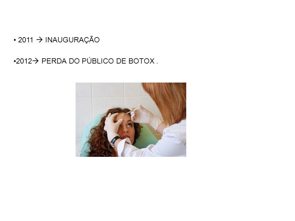 2011  INAUGURAÇÃO 2012 PERDA DO PÚBLICO DE BOTOX .