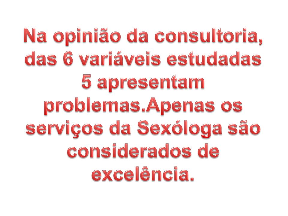 Na opinião da consultoria, das 6 variáveis estudadas 5 apresentam problemas.Apenas os serviços da Sexóloga são considerados de excelência.