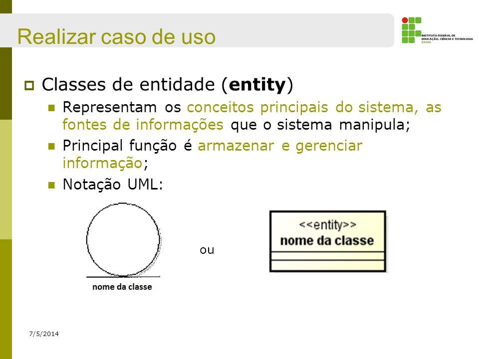 Realizar caso de uso Classes de entidade (entity)