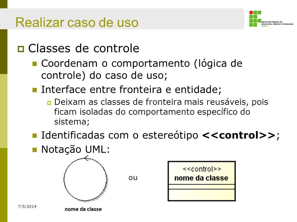 Realizar caso de uso Classes de controle