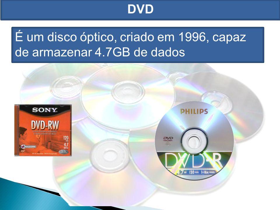 DVD É um disco óptico, criado em 1996, capaz de armazenar 4.7GB de dados