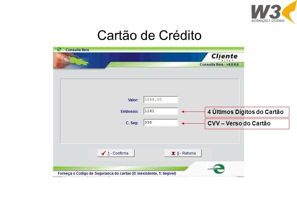 Cartão de Crédito 4 Últimos Dígitos do Cartão CVV – Verso do Cartão