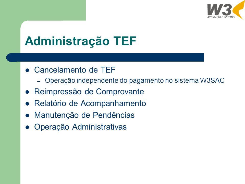 Administração TEF Cancelamento de TEF Reimpressão de Comprovante