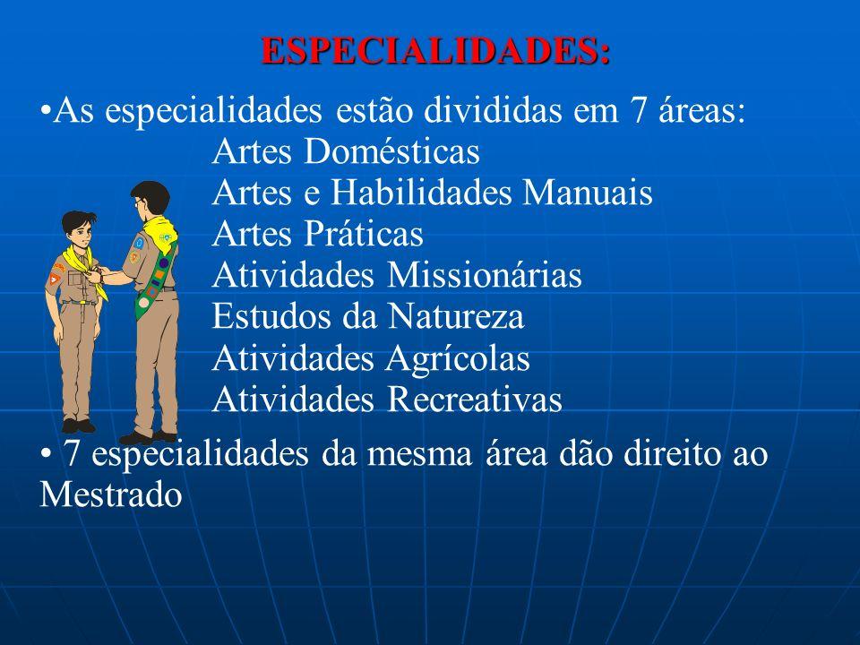 ESPECIALIDADES: As especialidades estão divididas em 7 áreas: