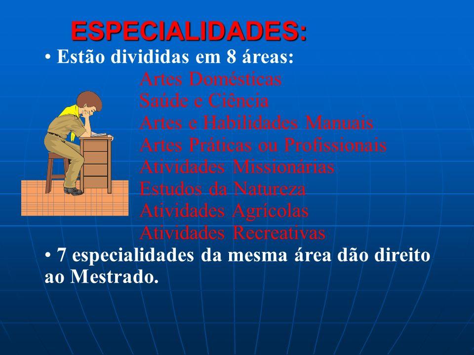 ESPECIALIDADES: Estão divididas em 8 áreas: Artes Domésticas
